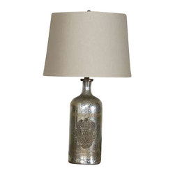 Uttermost Borel Antique Glass Table Lamp - Antiqued mercury glass accented with an antiqued brass medallion. Antiqued mercury glass accented with an antiqued brass medallion. The round, slightly tapered hardback shade is a taupe beige linen fabric.