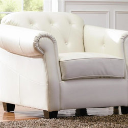 Coaster - Kristyna Upholstered Chair in White - Transitional style. Sloping rolled arm with pleats and welts at front. Plush attached button tufted back. Pocket coil seat cushions with sinuous spring support. 100% kiln-dried premium frame. Deep welted box seat cushion. Soft bonded leather upholstery. Reinforced front and back panels to prevent sagging. Inside backs are supported by crossed-weave webbing, covered in high density foam padding. High-resiliency foam cushions add irresistible comfort. Seat depth: 22.5 in.. Overall: 41 in. W x 37 in. D x 34 in. H. WarrantyAdd a touch of sophisticated style to your living room or sitting area with this unique upholstered chair.