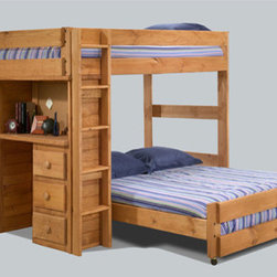 Full/Full Loft Bed w/Desk & Lingerie Chest 3923 (PC) - Full/Full Loft Bed with Desk & Lingerie Chest. This Solid Pine Loft Bed Includes Top Full Bed Frame, Bottom Full Bed Frame, Built in Three Drawer Desk With Cork-Back Bulletin Board, Five Drawer Lingerie Chest And Ladder. Casters On The Bottom Bed Allows For Easy Bed Making. The Desk And Lingerie Chest Can Be Arranged On The Left Or Right Side Making It Easy To Fit Your Room Layout. Drawers Are Mounted On Easy Rolling European-Style Rollers. This Is Beautiful And Elegant For Your Bedroom or Dorms. Strong Construction. Easy To Assemble. We can make the Top or Bottom Bed Extra Long for $25.00 extra. If you do not want the bottom bed the price will be $55.00 less.