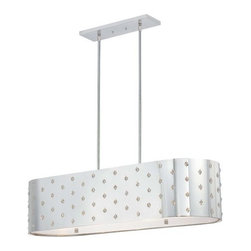 Kovacs - Kovacs P026 4 Light Island / Billiard Fixture with Oval Perforated Steel Shade f - Contemporary / Modern 4 Light Island / Billiard Fixture with Oval Perforated Steel Shade from the Bling Bling CollectionContemporary and stylish, the Bling-Bling 4 Light Island fixture beautifully lights up a room. This fixture is perfectly designed to hang over kitchen islands, billiard tables or dining room tables. The perforated steel shade provides durability while the inset crystal accents diffuse the light brilliantly around your room.Features: