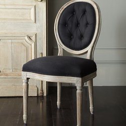 "Black Linen Chairs - Classic elegance...you can never go wrong with a chair upholstered in black linen.  These chairs are perfect for the dining room, but would also work well pulled up to a secretary or desk.20""W x 26""D x 39""T."