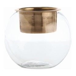 Arteriors - Ringo Candleholder/Vase, Brass, Medium - Talk about a multitasker! This ingenious accent piece in metal and glass functions as vase, bowl or candleholder depending on your mood of the moment. So simply and superbly designed, it looks terrific whatever you use it for.