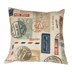 Pillow Decor - Pillow Decor - Vintage Postage Stamp Color 18 x 18 Throw Pillow - Take a step back in time with The Vintage Postage Stamp Throw Pillow. This fantastic pillow will add contemporary vintage charm to your home decor. The pillow's print pattern displays a selection of US postage stamps in muted tones of navy blue, red, sea Green and tan. The background of the pillow is a beautiful shade of sand. The detailed print runs throughout the pillow, which is finished with a color matched zipper. You don't have to be a stamp collector to love the vintage charm of this throw pillow.