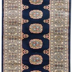 "ALRUG - Handmade Navy Blue Oriental Bokhara Runner 2' 6"" x 8' (ft) - This Pakistani Bokhara design rug is hand-knotted with Wool on Cotton."