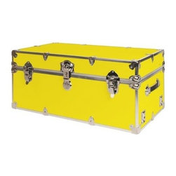 Rhino - Rhino Armor Storage Trunk in Yellow (Small) - Choose Size: SmallTwo nickel plated steel universal wheel adapter plates mounted on the side of the trunk. Laminated armor exterior. Strong hand-crafted construction using both old world trunkmaking skills and advanced aviation rivet technology. Steel and aluminum aircraft rivets used to ensure durability. Heavy duty proprietary nickel plated steel hardware. Steel lid hinges and steel lid stay for keeping the lid propped open. Tight fitting steel tongue and groove lid to base closure to keep out moisture, dirt, insects and odors. Stylish lockable nickel plated steel trunk lock. Loop for attaching a padlock. Genuine leather handles. American craftsmanship. Self-sticking adhesive on the back of the name plate. Upper or lower case lettering. Lettering is in black. The name plate can take 24 characters per line. The max number of lines is 2. Warranty: Lifetime warranty includes free non-cosmetic repairs for the life of the trunk. Made from smooth 0.38 in. premium grade baltic birch hardwood plywood. No paper or plastic lining anywhere avoiding peeling or tearing. Name plate made from plastic. No assembly required. Cube: 20 in. W x 18 in. D x 18 in. H (22 lbs.). Small: 30 in. W x 16 in. D x 12.5 in. H (24 lbs.). Medium: 30 in. W x 16 in. D x 16 in. H (26 lbs.). Large: 32 in. W x 18 in. D x 14 in. H (27 lbs.). Extra Large: 34 in. W x 20 in. D x 15 in. H (32 lbs.). Extra Extra Large: 36 in. W x 18 in. D x 18 in. H (36 lbs.). Jumbo: 40 in. W x 22 in. D x 20 in. H (52 lbs.). Super Jumbo: 44 in. W x 24 in. D x 22 in. H (69 lbs.). Name Plate: 3 in. L x 1 in. H (0.5 lbs.)The hand-crafted American Made Rhino Armor Cube is constructed from the highest quality components. Rhino Armor is an exterior 1000d Cordura Nylon textured sheathing that's highly resistant to water penetration, denting and scratching. The Rhino Armor Cube is conveniently sized and ruggedly built. In fact, its strong enough to stand on ! The Rhino Armor Cube