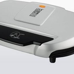 Applica - George Foreman 144sqin Grill Silver - George Foreman Silver 9-serving Classic Plate Grill - Get all the space you need to cook healthier f or up to 9 people with our largest indo or contact grill. The 133 Sq. In. grilling surface easily fits up to 9 servings with even heat from the center to the sides of the plate with our Signature Foreman heating elements. Our patented sloped design and George tough nonstick coating allow you to cook without oil or butter while fat and grease drain off f or healthier meals in minutes. The grill includes a dishwasher safe drip tray f or added convenience.