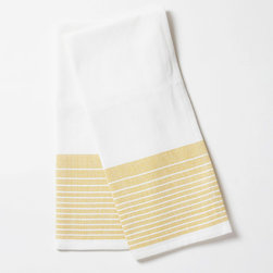 "Coyuchi - Coyuchi Diamond Stripe Sunflower Kitchen Towel Set of 2 - This Coyuchi kitchen towel set introduces eco-friendly sophistication to the modern interior. Across a white, diamond woven background, yarn-dyed, sunflower yellow stripes lend a colorful accent. 16""W x 24""H; Set of two; 100% organic cotton; Due to handmade quality, slight variations in fabric may occur; Machine washable"