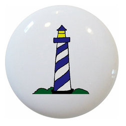 Carolina Hardware and Decor, LLC - Blue Lighthouse Nautical Ceramic Knob - New 1 1/2 inch ceramic cabinet, drawer, or furniture knob with mounting hardware included. Also works great in a bathroom or on bi-fold closet doors (may require longer screws).  Item can be wiped clean with a soft damp cloth.  Great addition and nice finishing touch to any room.  Made in China.