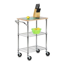 Chrome 2 Shelf Urban Rolling Cart - Honey-Can-Do SHF-01607 Chrome Kitchen Cart with Cutting Board, Chrome/Wood.   Brilliant chrome finish and contemporary design makes this unit the perfect blend of good looks and functionality. Its sturdy, commercial quality frame has a grid-style thick wire shelves, hardwood cutting surface, adjustable shelves, and lockable wheels. Mobile, lightweight, and sturdy, this versatile cart can go wherever you need a little extra work space. Great for use in an outdoor kitchen too!