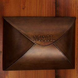 Envelope Mailbox, Vintage Brass Finish - How cute is this? I love this vintage brass mailbox!