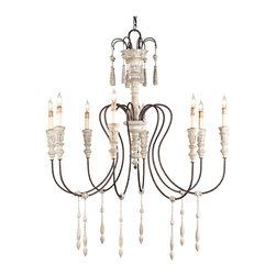 Kathy Kuo Home - Katrine Gustavian Iron and Wood Chandelier - Medium - Good things do come in small packages!  Just look at this delightful Swedish Gustavian light fixture crafted from wrought iron and wood and scaled to a more diminutive size. Elegant arms hold eight lights, draped with wooden drops.  Another head turning Scandinavian has arrived!