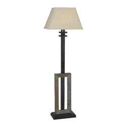 "Kenroy Home - Asian Kenroy Home Egress Collection Outdoor Floor Lamp - Take this lamp into your garden or outdoor seating areas to brighten your next gathering or party. The design features an all-weather natural slate base and a tan tapered rectangular shade. Design is UL rated for wet locations and is made from all-weather fabrics and rustproof materials. Weighted base prevents it from tipping over in winds. On-off socket switch. Design by Kenroy Home. Takes one 100 watt bulb (not included). 60"" high. 18"" wide shade.  Egress collection outdoor floor lamp.  Natural Slate base.  Tan fabric rectangular shade.  UL rated for wet locations.  All-weather fabrics and rustproof materials.  Weighted base.  Design by Kenroy Home.   Takes one 100 watt bulb (not included).   60"" high.   18"" wide shade."
