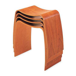 """Taburet M Stacking Stool - by Jørgen Møller. Dimensions: 18""""H x 18"""" W x 11.75""""D. Made of molded beech or cherry wood with lacquered finish, or beech plywood with ebonized black finish. Stacks three high."""