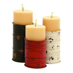 "Benzara - Simple Design Metal Candle Holder in Cylindrical Shape- Set of 3 - Simple Design Metal Candle Holder in Cylindrical Shape- Set of 3. If your style speaks volumes about originality and uniqueness, then the metal candle set is carved to suit your taste. It is available in 3 size variants - 6"" H x 4"" W x 4"" D, 7"" H x 4"" W x 4"" D, 8"" H x 4"" W x 4"" D."