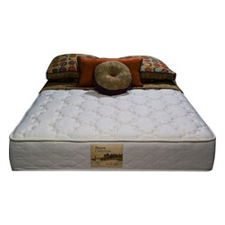 """Wolf Corp - Renewal Twin Mattress - The Renewal has a helical laced double tempered innerspring core. Foam encasement construction for edge to edge sleeping comfort. Luxury stretch knit quilt cover for breathable sleep surface and conforming comfort. Premium quality, posturized, foam encased 10"""" rollable mattress.; 336 high profile coil unit; foam encased border; internally made Wolf bonded center third posture pad for extra support in critical """"middle""""; luxury stretch knit quilt for extra conforming comfort; Dimensions: 10""""H x 38""""W x 75""""D"""