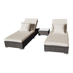 "Reef Rattan - Reef Rattan 3 Piece Malibu Chaise Lounger Set - Grey Rattan / Beige Cushions - Reef Rattan 3 Piece Malibu Chaise Lounger Set - Grey Rattan / Beige Cushions. This patio set is made from all-weather resin wicker and produced to fulfill your needs for high quality. The resin wicker in this patio set won't fade, shrink, lose its strength, or snap. UV resistant and water resistant, this patio set is durable and easy to maintain. A rust-free powder-coated aluminum frame provides strength to withstand years of use. Sunbrella fabrics on patio furniture lends you the sophistication of a five star hotel, right in your outdoor living space, featuring industry leading Sunbrella fabrics. Designed to reflect that ultra-chic look, and with superior resistance to the elements in a variety of climates, the series stands for comfort, class, and constancy. Recreating the poolside high end feel of an upmarket hotel for outdoor living in a residence or commercial space is easy with this patio furniture. After all, you want a set of patio furniture that's going to look great, and do so for the long-term. The canvas-like fabrics which are designed by Sunbrella utilize the latest synthetic fiber technology are engineered to resist stains and UV fading. This is patio furniture that is made to endure, along with the classic look they represent. When you're creating a comfortable and stylish outdoor room, you're looking for the best quality at a price that makes sense. Resin wicker looks like natural wicker but is made of synthetic polyethylene fiber. Resin wicker is durable & easy to maintain and resistant against the elements. UV Resistant Wicker. Welded aluminum frame is nearly in-destructible and rust free. Stain resistant sunbrella cushions are double-stitched for strength and are fully machine washable. Removable covers made with commercial grade zippers. Tables include tempered glass top. 5 year warranty on this product. Chaise Lounger (2): W 34"" D 83"" H 14"", Coffee Table: W 18"" D 18"" H 14"""