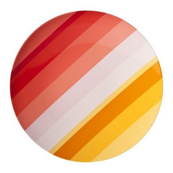 Coral Stripe Dinner Plate - Fun and colorful dinner plates like these are great for a summer brunch outdoors.