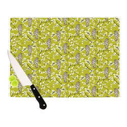 """Kess InHouse - Julie Hamilton """"Blossom Bird"""" Cutting Board (11"""" x 7.5"""") - These sturdy tempered glass cutting boards will make everything you chop look like a Dutch painting. Perfect the art of cooking with your KESS InHouse unique art cutting board. Go for patterns or painted, either way this non-skid, dishwasher safe cutting board is perfect for preparing any artistic dinner or serving. Cut, chop, serve or frame, all of these unique cutting boards are gorgeous."""