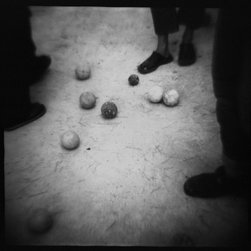 """""""discussion"""" Artwork - Who won and who cheated is up for discussion when you view this intriguing photograph by Daniel Grant. Taken with an antique, black and white toy camera, the image tells a story and lets you to interpret it."""