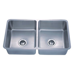 "Dowell - Dowell 30"" x 19"" Undermount Kitchen Sink Double Bowl Sink - 18 Gauge, 304 Series Stainless Steel"