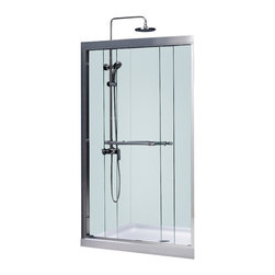 BathAuthority LLC dba Dreamline - Duet Frameless Bypass Sliding Shower Door and SlimLine Shower Base - Choose the perfect solution for a bathroom renovation project with a DreamLine shower kit. This kit includes a Duet bypass sliding shower door and a coordinating SlimLine shower base. The Duet has two sliding glass panels that bypass each other to allow entry in to the shower space from either side. A SlimLine shower base completes the picture with a modern low profile design. Choose a beautiful and efficient DreamLine shower kit to completely transform a shower space.