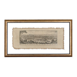 Framed Paris-Replica of Antique Engraving - Complete your room with the gratifying authority of an old woodcut print and the magic of Paris, the City of Light. This stately replica engraving depicts the French capital city as it looked when viewed from a hilltop centuries ago, rendered in black ink on a natural parchment shade. The print is sandwiched attractively between sheets of crystal-clear glass, so the color of your wall shows through between the print's deckle edge and the two-colored wooden frame.