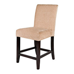 "Powell - Powell ""Slip Over"" Counter Stool, 24"" Seat Height X-034-247 - Counter Stool has straight back with exposed ""Merlot"" finished tapered legs and stretchers. Seat and back are upholstered in Dark Beige Microfiber, 100% polyester. Use by itself or use with ""Slip Over"" slipcovers, items 742-201 through 742-267 to transform a room's look. Some assembly required."