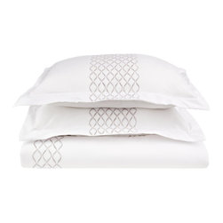 Hannah (Microfiber) 3-Piece Full/Queen Quilt Set - White/Grey - The Hannah Duvet Set features a grey embroidered link pattern on white. The set is made from our high quality wrinkle resistant brushed microfiber. The material is comfortable and provides a refreshing sleep. Luxury at an affordable price!