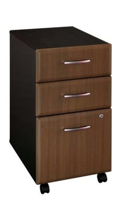 Bush Series A Three Drawer File in Sienna Walnut and Bronze - Keep your business or personal files neat, organized, and safe with the Bush A-Series Three-Drawer File in Sienna Walnut and Bronze. This sleek, contemporary file cabinet offers generous storage for files and more in your home or office. Designed with quality in mind, it easily fits under standard desks. It is constructed of durable laminate over particleboard with a two-toned finish in dark bronze and sienna walnut.Two box drawers hold small office supplies, and the lower file drawer opens on full-extension slides for easy placement and removal of files. The bottom file drawer holds both letter- and legal-size files, and a privacy lock provides security. This file cabinet also has casters for easy mobility, allowing you to store it under your desk and pull it out for easy access. Assembly required. Dimensions: 15.63W x 20.38D x 28.25H inches.About Bush FurnitureBush Furniture is the eighth-largest furniture company in the United States. Bush manufactures high-quality products, which are designed to be easily assembled and provide great value for the price. Bush furniture is made from a combination of particleboard, fiberboard, and solid wood components. The use of real wood components will be noted in the product description, if applicable.Bush Industries has more than 4 million square feet of manufacturing, warehousing, and distribution space. This allows for a very wide selection of high-quality furniture with the ability to ship quickly. All Bush Furniture is also backed by a 10-year warranty from Bush, one of the best in the industry.Please note this product does not ship to Pennsylvania.