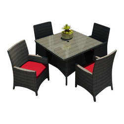 Forever Patio - Hampton 5 Piece Modern Patio Square Dining Set, Heather Wicker and Ruby Cushions - When taking in your outdoor space and enjoying a fine meal with friends become one and the same, the Forever Patio Hampton 5 Piece Outdoor Rattan Square Dining Set with Red Sunbrella cushions (SKU FP-HAM-5SQDN-HT-FF) provides the perfect setting. The set seats 4 adults comfortably, and includes 4 dining chairs and a dining table with a glass top. This set features Heather resin wicker, which is made from High-Density Polyethylene (HDPE) for outdoor use. Each strand of this outdoor wicker is infused with its natural color and UV-inhibitors that prevent cracking, chipping and fading ordinarily caused by sunlight, surpassing the quality of natural rattan. This resin wicker dining set is supported by thick-gauged, powder-coated aluminum frames that make it extremely durable. Also included are fade- and mildew-resistant Sunbrella cushions. Whether you are enjoying brunch, lunch or dinner, you will always dine in style with this wonderful looking patio dining set.