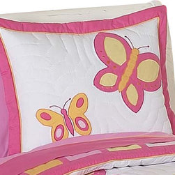 Sweet Jojo Designs - Butterfly Pink and Orange Pillow Sham - The Butterfly Pink and Orange standard pillow sham coordinates beautifully with the Sweet jojo designs, Butterfly Pink and Orange bedding collection. This pillow sham is a quick and easy way to complete the look and theme in your child's bedroom. Machine washable. Fits all standard size pillows. The Pillow Sham Dimensions are 20 in. x 26 in.