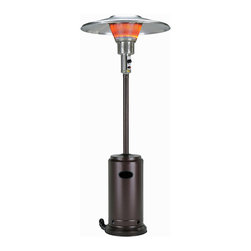 "AZ Patio Heaters - Tall Commercial Patio Heater from Burny - Hammered Bronze - 93"" Commercial Round Patio Heater HLB-2400BRZ.  45000 BTU Bronze propane gas. 46,000 BTU adjustable volume control heavy duty construction. 38"" Solid aluminum heat shield. 304 High grade stainless steel main burner head heavy duty SIT thermocouple to assure heater longevity. Dual conical heat emitter screens. Double screens' protection and increase BTU output. Heavy base weight plate included heavy duty wheel construction for easy mobility regulator included thermocouple with pilot light to assure safe ignition safety anti tilt switch that shuts heater down when accidentally tipped over. 20 foot feating range. CSA Certified."