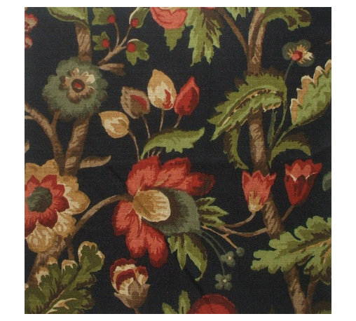 """Close to Custom Linens - 72"""" Shower Curtain, Unlined, Elizabeth Floral Night Black - Elizabeth Night is a lovely updated floral with shades of red, gray-blue, green, brown, gold and cream on a black background."""