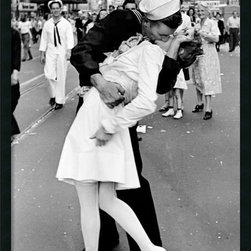 Amanti Art - Kissing on VJ Day - Times Square Framed with Gel Coated Finish by Alfred Eisenst - While many servicemen and women were photographed on VJ Day, Times Square, August 14, 1945. This is one of the most iconic images of the 20th century.