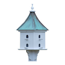 "Purple Martin Copper/Vinyl Birdhouse - Architectural martin birdhouse adds curb appeal to your place with clean lines and simple elegance. Standing 36"" tall, there's never a worry of rotting, cracking, splitting or fading... guaranteed!"