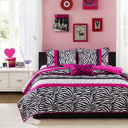 Mi-Zone - Mizone Gemma Coverlet Set - The Mizone Gemma Collections offers an edgy yet girly look for your space. The stripes of polka dots,damask print and zebra print create the perfect balance while the hot pink decorative pillow uses black zebra embroidery to pull this look together.
