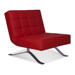 RED LIVING - Wave One Red Lounge Chair - The Wave One Lounge Chair brings Italian design and great comfort to your home and office. It's back can be folded down to form a bench, making the Wave One Lounge Chair perfect for entertaining guests.