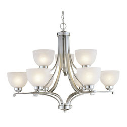 Minka Lavery - Minka Lavery ML 1429-PL 9 Light 2 Tier Energy Star Chandelier from the Paradox C - Nine Light Two Tier Chandelier from the Paradox CollectionFeatures: