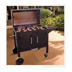 Landmann - Black Dog Charcoal Grill w Wheels, Shelves, and Ash Tray - * Heavy duty steel construction. Large front doors and removable ash tray make this grill easy to use. Heavy duty steel construction (14 gauge)and porcelain cooking grates. Large front doors for easy access to the fire and for adding wood. Large side shelf for workspace. Shipping Weight: 125 lbs.