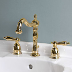"New Orleans Widespread Lavatory Faucet - Lever Handles - Chrome - This Victorian style faucet features a curved, shapely spout with sculpted metal lever handles and escutcheons. It fits any 8"" centered sink and is sure to add an authentic vintage feel to your lavatory."