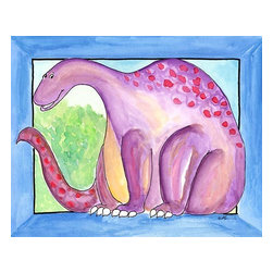 Oh How Cute Kids by Serena Bowman - Big Guy - Purple Dino, Ready To Hang Canvas Kid's Wall Decor, 11 X 14 - This Big GUY is part of my dinosaurs series.