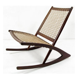 ecofirstart - Geometric rocking chair in the style of  Fredrik Kayser - An amazing geometric rocking chair in the manner by Norwegian designer Fredrik Kayser for Vatne Mobler. Designed in the late fifties, in our opinion it is amongst the finest rocking chairs ever conceived. In solid dark afromosia wood, repolished and newly restrung with hardwearing Danish cord, this rocking chair makes a great statement whilst providing sleek relaxation. Despite the minimalist design it is very comfortable. The sculpted afromosia has a wonderfully rich grain.
