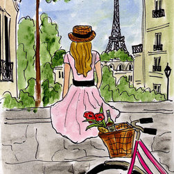 """""""Bicycle Touring Paris"""" Painting by Fifi Flowers - This original painting by Fifi Flowers is perfect for creating a playful and romantic feel in a little girl's room, especially one who dreams of visiting Paris one day. As it's small, I would place it in a cream, hand-carved wood frame and set it on my daughter's dusty blue French bedside table so she could gaze at it as she falls asleep."""