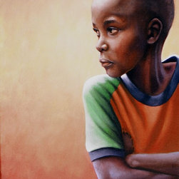 """""""The Standoff"""" Artwork - African boy with arms crossed and torn orange soccer shirt"""
