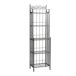 Holly & Martin - Petaluma Baker's Rack - Elegant and beautiful, this baker's rack will help with storage, display and organization all in one. The quality metal construction ensures this baker's rack will serve your needs for a lifetime. Decorative scrollwork on the top edge adds a touch of style to complete the traditional design.
