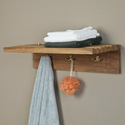 Teak Towel Shelf with Robe Hooks - Featuring three robe hooks and a collapsible shelf, this teak wood towel rack is great for storing items when needed or folding down to save space. The sleek design of this piece makes it great for a modern style home.