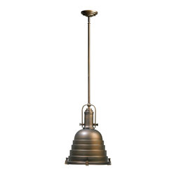 Kathy Kuo Home - Elliot Industrial Loft Modern Silver Pendant Drop Ceiling Light - This oiled bronze beauty walks the line between art deco and industrial styles with grace and charm. From the tiered shade to the screw details and upwards to the  medallion, this piece makes all the right moves.  This is a final sale item.
