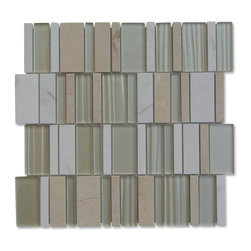 """GlassTileStore - Rapids Pattern Afterglow Glass and Stone Tile - Rapids Pattern Afterglow Glass and Stone Tile             This beautiful waterfall pattern has a combination of polished glass and natural stone pieces varying in widths blended together on the same mesh backing. Its stunning design and unique pattern will bring warmth and a natural ambiance to your home. Please note that natural stones are products of nature therefore variations in color, pattern, texture and veining will occur.  This tile is not sutiable for pool or shower installation.            Chip Size: 3"""" x Random   Color: Crema Marfil, Asian Statuary, Metallic Gold   Material: Glass and Stone   Finish: Polished   Sold by the Sheet - each sheet measures 12"""" x 12"""" (1 sq. ft.)   Thickness: 8mm   Please note each lot will vary from the next.            - Glass Tile -"""