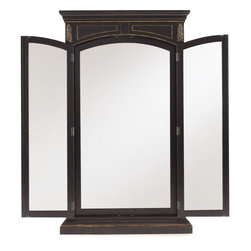 """Hooker Furniture - Hooker Furniture Grandover Floor Mirror - Grandover is a high-drama European traditional collection updated for today with a modern outlook and functional details. A striking two-tone finish of exotic elegance combines hardwood solids with Golden Madrone Burl, Walnut, Cherry, Maple and Birch veneers, bordered by black handpainting and subtle, handrubbed gold accents for an aged and acquired look. Poplar Solids, Cherry, Walnut & Maple Veneers, Golden Madrone Burl, Robus Leather, Resin. Dimensions: 51.5""""W x 6""""D x 87.25""""H."""