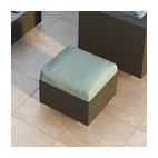 Urbana Modern Wicker Ottoman, Spa Cushion, Canvas Spa